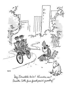 """Hey, Dinwiddie twins!  Remember me? Drusilla Settle from fourth-period ge…"" - New Yorker Cartoon by George Booth"