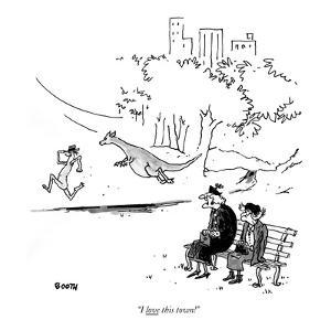 """""""I love this town!"""" - New Yorker Cartoon by George Booth"""
