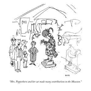 """Mrs. Pepperkorn and her cat made many contributions to the Museum."" - New Yorker Cartoon by George Booth"