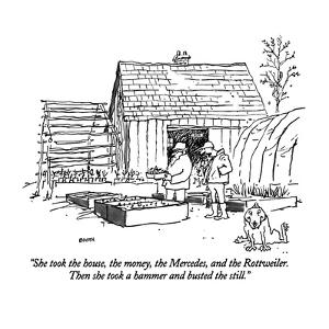 """She took the house, the money, the  Mercedes, and the Rottweiler.  Then s…"" - New Yorker Cartoon by George Booth"