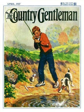 """""""He's Got a Fish!,"""" Country Gentleman Cover, April 1, 1927"""