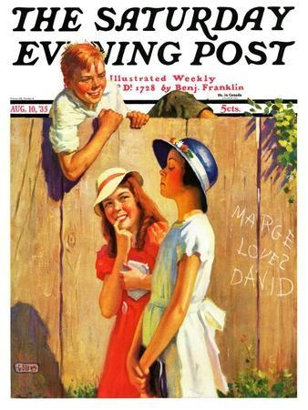 """""""'Marge Loves David',"""" Saturday Evening Post Cover, August 10, 1935"""