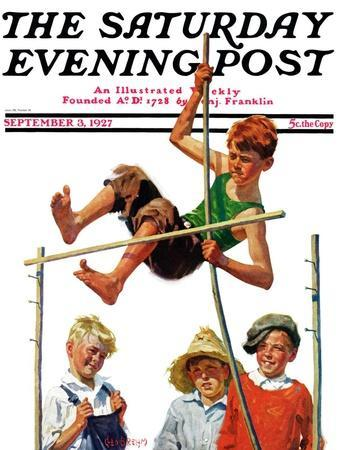 """""""Pole Vault,"""" Saturday Evening Post Cover, September 3, 1927"""