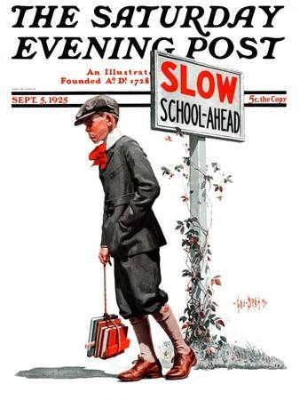 """""""Slow, School Ahead,"""" Saturday Evening Post Cover, September 5, 1925"""