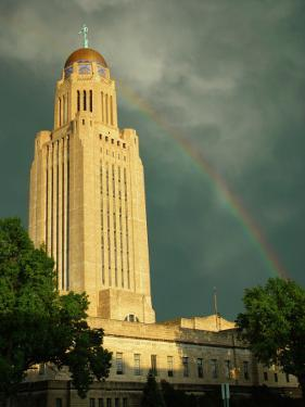Nebraska, Lincoln, a Rainbow Wraps the State Capitol Building by George Burba