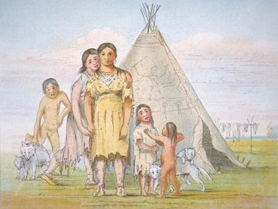 A Comanche Family Outside their Teepee, 1841 by George Catlin