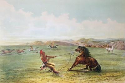 Osage Hunters Catching Wild Horses by George Catlin