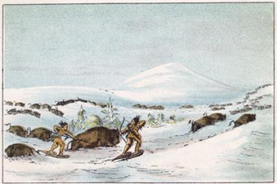 Sious Hunting in Snow by George Catlin