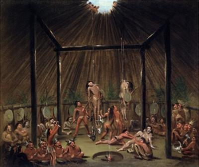 The Cutting Scene, Mandan O-Kee-Pa Ceremony by George Catlin by George Catlin