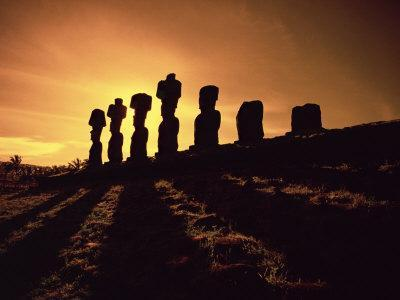 Easter Island Landscape with Giant Moai Stone Statues at Sunset, Oceania