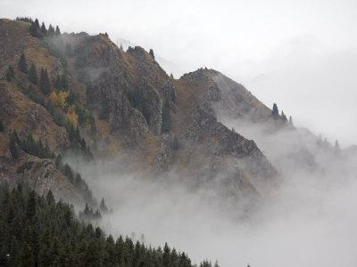 Mist Shrouds the Tian Shan in Xinjiang Province, North-West China. September 2006