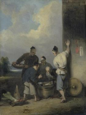 Coolies Round the Food Vendor's Stall, after 1825 by George Chinnery