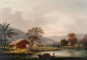 Figures Guiding a Sampan Round a Bend in a River, Past a Village by George Chinnery