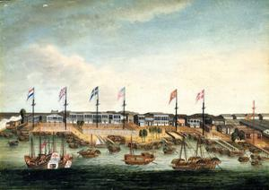 The Hongs at Canton, before 1820 by George Chinnery