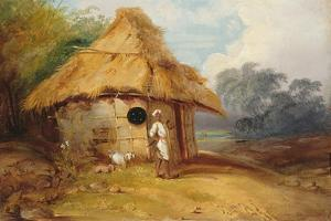 View in Southern India, with a Warrior Outside His Hut, C.1815 by George Chinnery