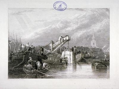 Construction of the Thames Tunnel, London, 1827 by George Cooke