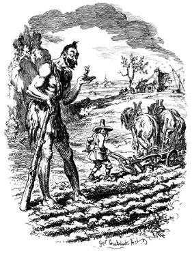 A Giant Stands in a Field as a Farmer Ploughs, 19th Century by George Cruikshank