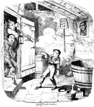 A Man Shoots a Young Boy Who He Suspects of Stealing, 19th Century by George Cruikshank