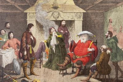 Falstaff Enacts the Part of the King in Henry IV, Part I, Act II, Scene IV, from 'The Illustrated…