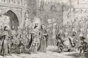 Henry IV, Act V Scene V: Sir John Falstaff Receiving a Most Unexpected Rebuke from King Henry V by George Cruikshank