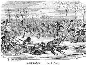 January - Hard Frost, 19th Century by George Cruikshank
