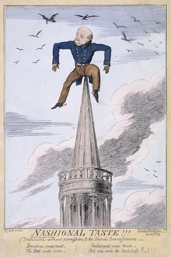 John Nash on the Spire of All Souls Church, Langham Place, Westminster, London, 1824 by George Cruikshank