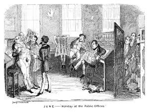 June - Holiday at the Public Offices, C1836 by George Cruikshank