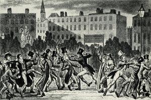 London Street Fight, early 19th century by George Cruikshank