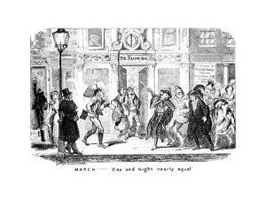March - Day and Night Nearly Equal, 19th Century by George Cruikshank