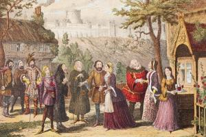 Sir John Falstaff on a Visit to His Friend Page at Windsor, Illustration from the Merry Wives of… by George Cruikshank
