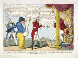 The Grand Duke of Middleburg or Late Ld. C-T-M and Commdore Cur-T's Paying their Respects..., 1809 by George Cruikshank