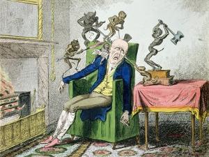The Head Ache, Satirical Cartoon by George Cruikshank