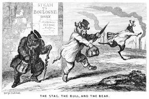 The Stag, the Bull, and the Bear, 19th Century by George Cruikshank