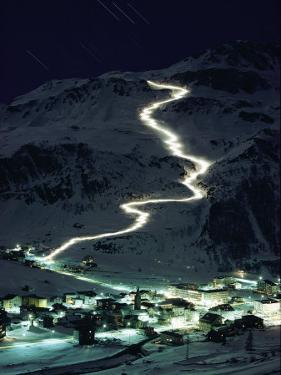 Skiers Bearing Torches Ski Down Mont Blanc Glaciers to Val Disere by George F. Mobley