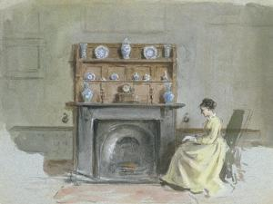 Lady Seated by Fireplace by George Goodwin Kilburne
