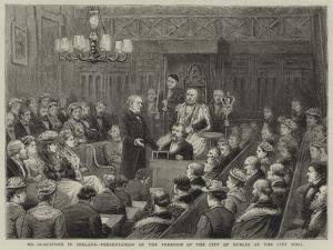 Mr Gladstone in Iraland, Presentation of the Freedom of the City of Dublin at the City Hall by George Goodwin Kilburne