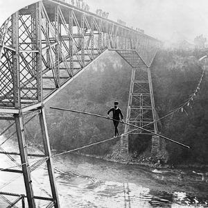 Dixon Crossing Niagara on a Tightrope by George H Barker