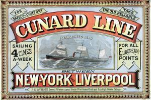 Cunard Line Between New York and Liverpool Poster by George H. Fergus