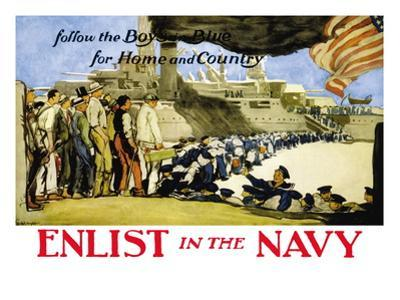 Enlist in the Navy, Follow the Boys in Blue, c.1914 by George Hand Wright