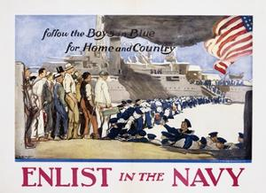 Follow the Boys in Blue for Home and Country, Enlist in the Navy Poster by George Hand Wright