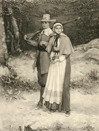 Puritan Couple on their Way to Sunday Worship, Engraved by Thomas Gold Appleton, 1885