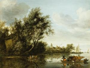 A River Landscape with a Hayloft Among Trees and a Ferryboat with Passengers and Cattle by George Henry Clements