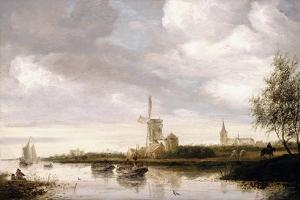 A River Landscape with Barges and Sailboats and a Church Beyond by George Henry Clements