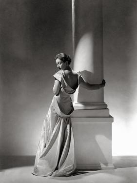 Vogue - September 1934 - Vionnet Dress Modeled by Column by George Hoyningen-Huené