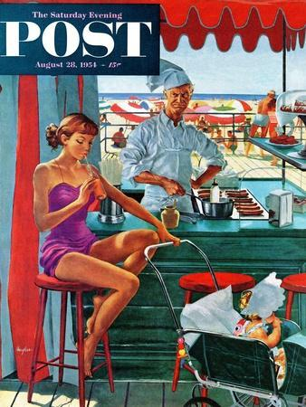 """""""Babysitter at Beach Stand"""" Saturday Evening Post Cover, August 28, 1954"""