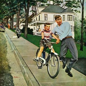 """Bike Riding Lesson"", June 12, 1954 by George Hughes"