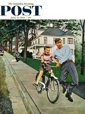 """""""Bike Riding Lesson"""" Saturday Evening Post Cover, June 12, 1954 by George Hughes"""