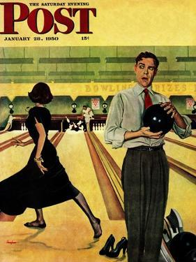 """Bowling Strike"" Saturday Evening Post Cover, January 28, 1950 by George Hughes"