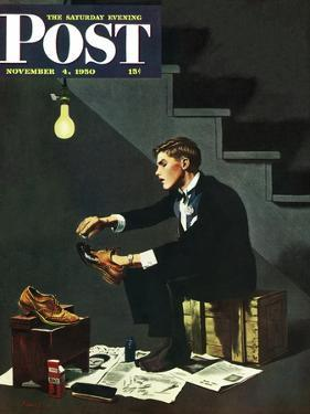 """""""Brown Shoes to Black"""" Saturday Evening Post Cover, November 4, 1950 by George Hughes"""