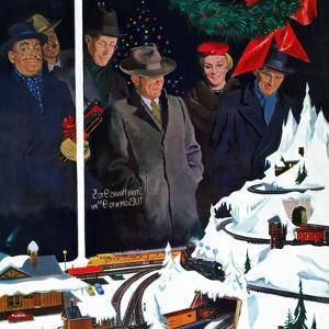 """Christmas Train Set"", December 15, 1956 by George Hughes"